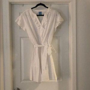 White Ruffled Eyelet Mini Dress